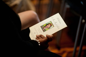 Friends and family of Dr. Renee Royak-Schaler attend a memorial service in her honor at Westminster Hall on the University of Maryland School of Medicine campus where she worked. (Jenna Isaacson Pfueller/ ProPublica)