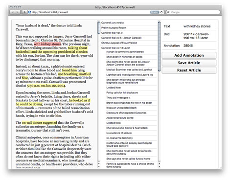 Our newsroom web app helps reporters annotate their stories.