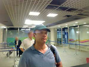 A security camera photo of Headley in Mumbai's airport on July 2008.