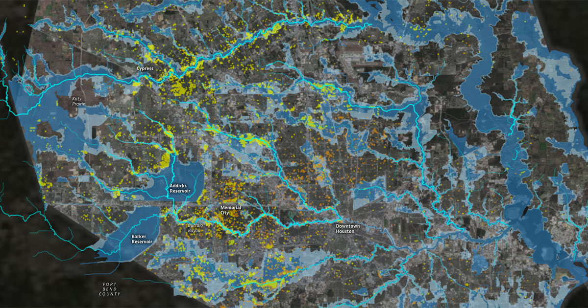 Map of Houston area waterways