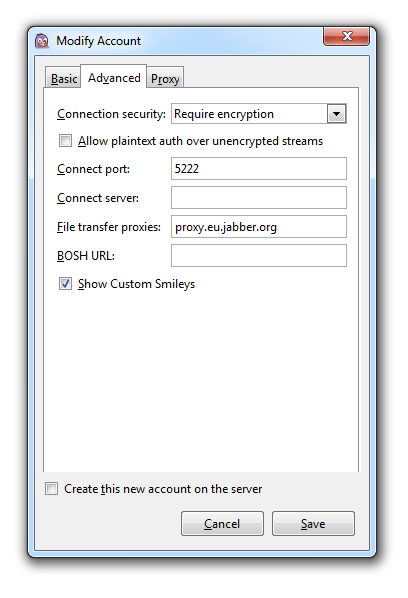 Pidgin Encryption Settings
